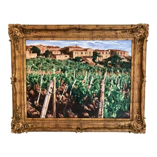 1980s Original Impressionist Inspired Tuscan Vineyard Oil on Canvas Painting For Sale
