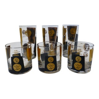 Libbey patriotic gold coin black and clear glass tumblers set of vintage cera goldblack coin tumblers and rocks glasses set of 6 gumiabroncs Gallery