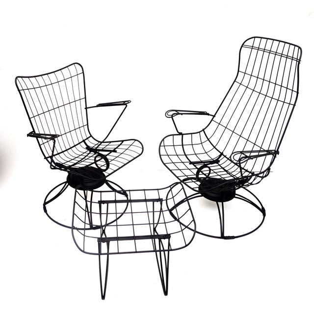 Made by Homecrest in the 1960s, these chairs & footstool are amazingly comfortable, extremely striking, and incredibly...