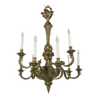 19th Century Second Empire Detailed Faces & Acanthus Leaf Bronze Chandelier For Sale