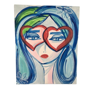 "Anastasia George Blue ""Léla"" Original Acrylic Face Painting on Canvas For Sale"