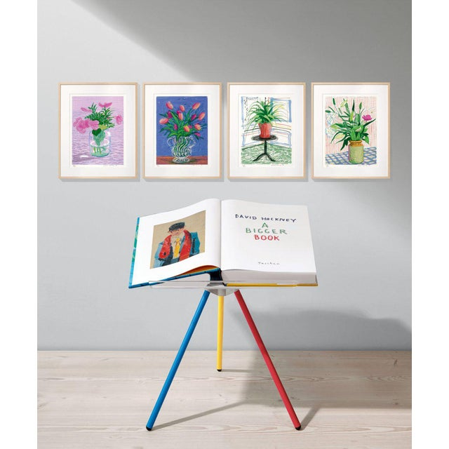 """Contemporary Autographed David Hockney """"A Bigger Book"""" Painting Collection with Book Stand Collector's Edition For Sale - Image 3 of 13"""