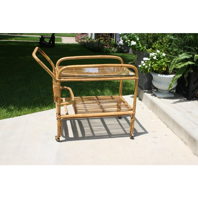 Boho Chic Vintage Bamboo and Rattan Bar Cart / Tea Cart For Sale - Image 3 of 8