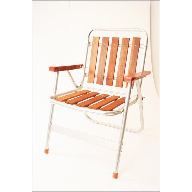 Vintage Redwood Amp Aluminum Folding Patio Chair Chairish