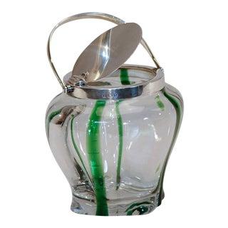 Stevens & Williams Crystal & Green Biscuit Barrel Sterling Silver Lid & Handle For Sale