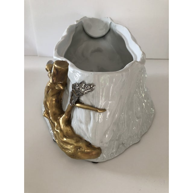 1960s 1960's Gold and Silver Accented White Wild Boar Tureen by Magnani For Sale - Image 5 of 13