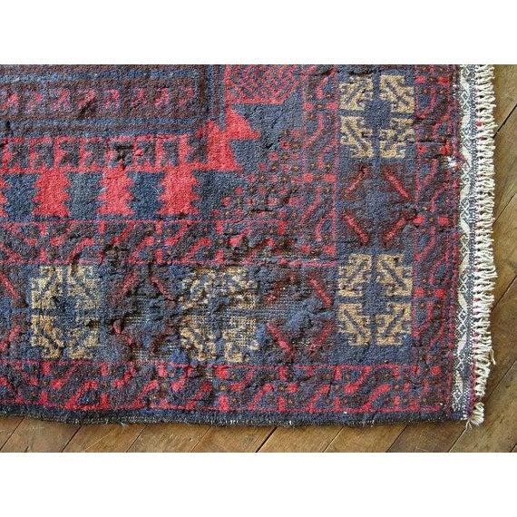 Vintage Navy & Red Persian Rug - 3′7″ × 6′5″ - Image 4 of 6