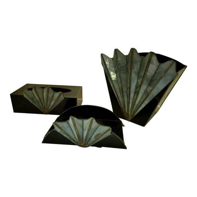 French Art Deco Black Glass Waste Basket - Set 3 For Sale