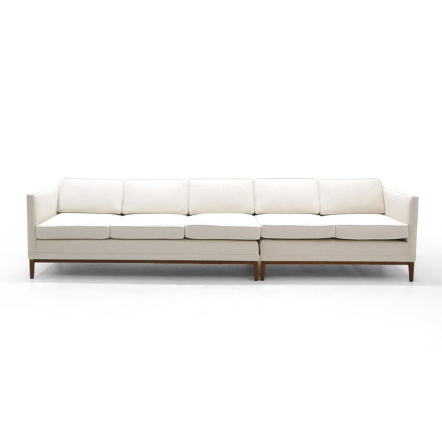 White Sectional Sofa, Five-Seat, Two-Piece, Even Arm, Off White, Restored, Excellent For Sale - Image 8 of 8