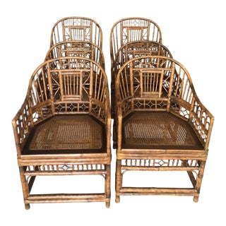 Vintage Chinese Chippendale Brighton Burnt Bamboo Rattan Arm Dining Chairs -Set of 6 For Sale