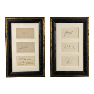 Pair of Framed British Royalty Autographs For Sale