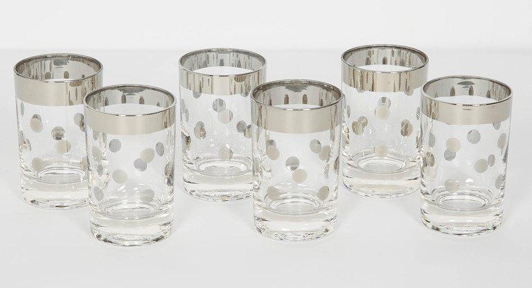 Set Of Six Dorothy Thorpe Barware Glasses With Polka Dot Design   Image 5  Of 5