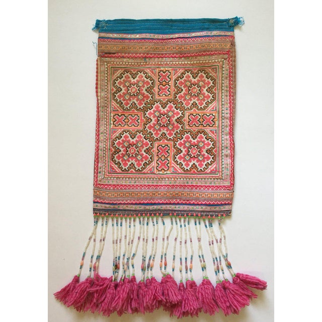 Vintage Needlepoint Pink Beaded Pom Pom Thai Textile - Image 2 of 7