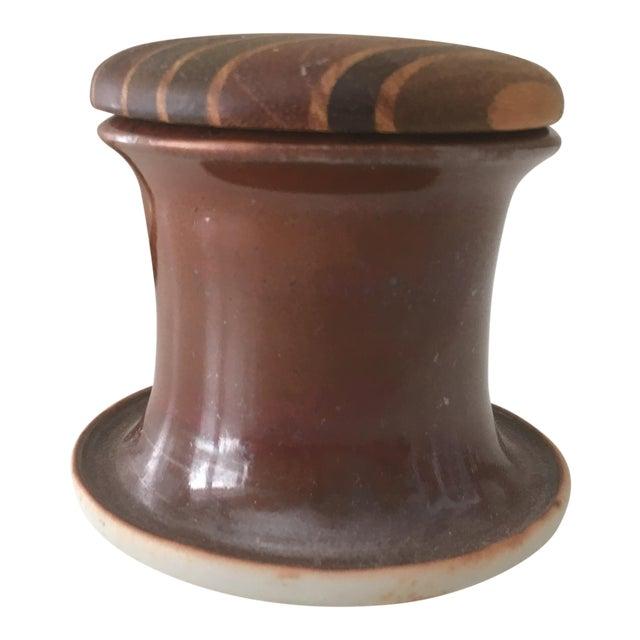 Vintage Mid Century Modern Wood Cork Lid Studio Ceramic Porcelain Pottery For Sale
