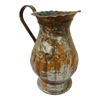 Antique Hammered Copper Pitcher For Sale
