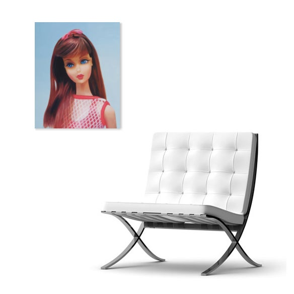 "Blue ""Twist 'N Turn"" Barbie Oil Painting For Sale - Image 8 of 11"