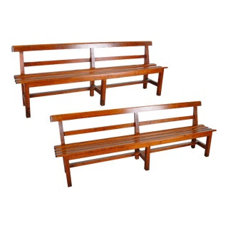 Vintage French Farmhouse Style Pine Rustic Benches - a Pair For Sale