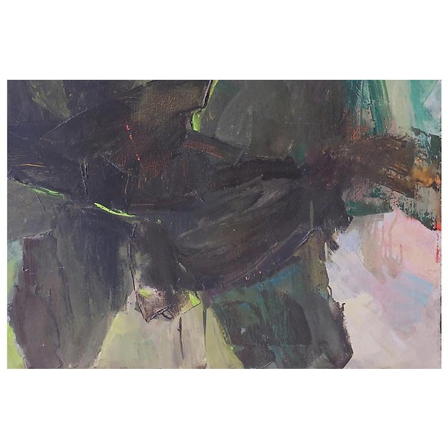 A substantial late-twentieth century American School oil abstract comprising overlapping organic forms in shades of sage...
