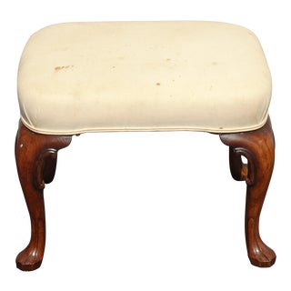 Vintage French Country Off White Footstool Bench With Queen Anne Legs For Sale