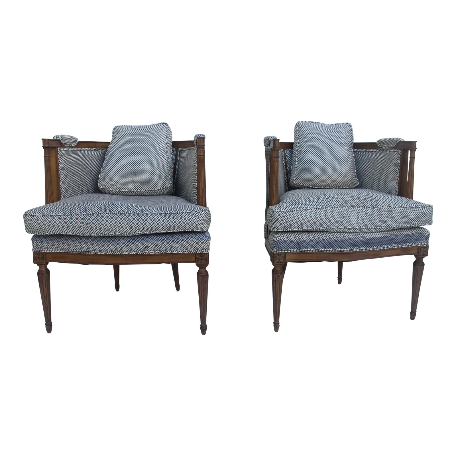 French Hollywood Regency Cane Back Barrel Accent Chairs Pair Chairish