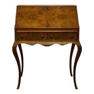 "1940s Vintage Antique Burled Walnut 32"" Drop Front Secretary Desk For Sale"