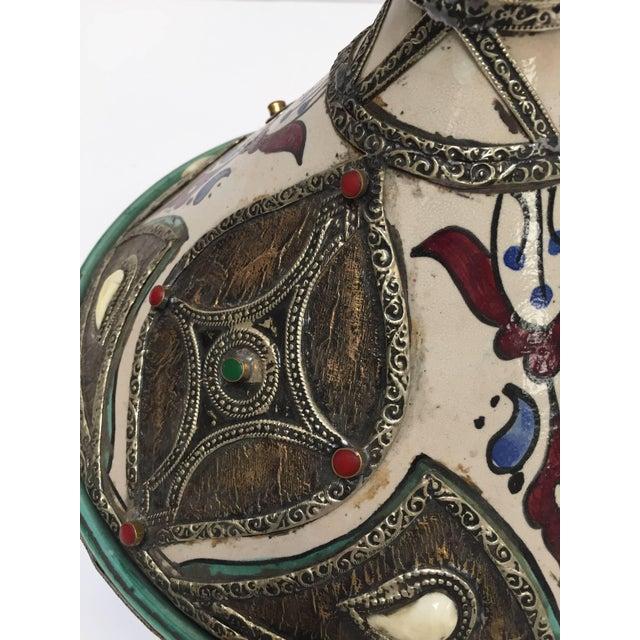 Moroccan Ceramic Tajine From Fez Polychrome For Sale - Image 4 of 10