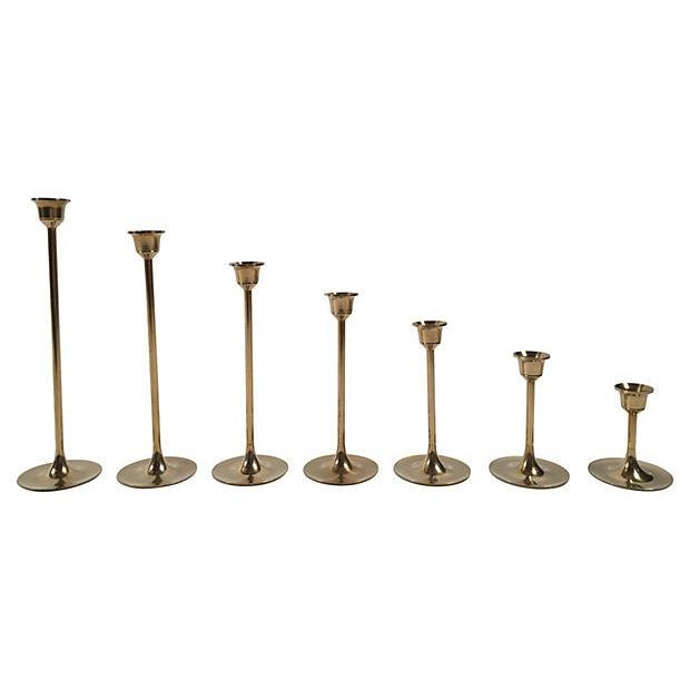 Mid-Century Brass Candlesticks - Set of 7 - Image 3 of 4