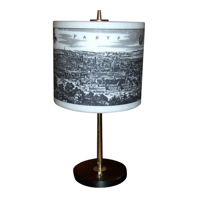 French Table Lamp With Painted Glass Shade For Sale