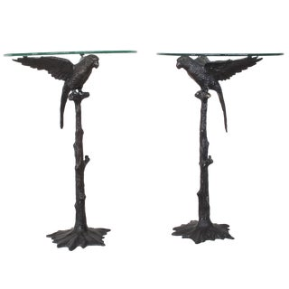 Vintage Bronze Parrot Side Tables - A Pair