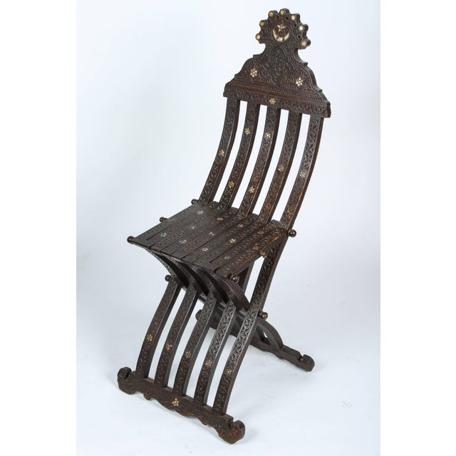 19th Century Antique Syrian Wood Inlaid Folding Chair For Sale - Image 9 of 9