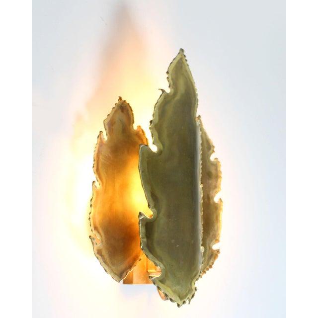 Brutalist 1960's Svend Aage Holm Sorensen Danish Brutalist Torch Cut Brass Leaf Sconces - a Pair For Sale - Image 3 of 6