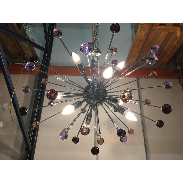 """Chandelier murano glass triedo sputnik multicolors metal frame in color kromo diameter 80 cm = 31.5"""" murano glass..."""