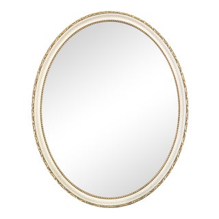 Carved Oval Giltwood & Ivory Mirror For Sale