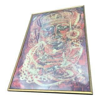 20th Mid-Century Abstract Batik Painting For Sale