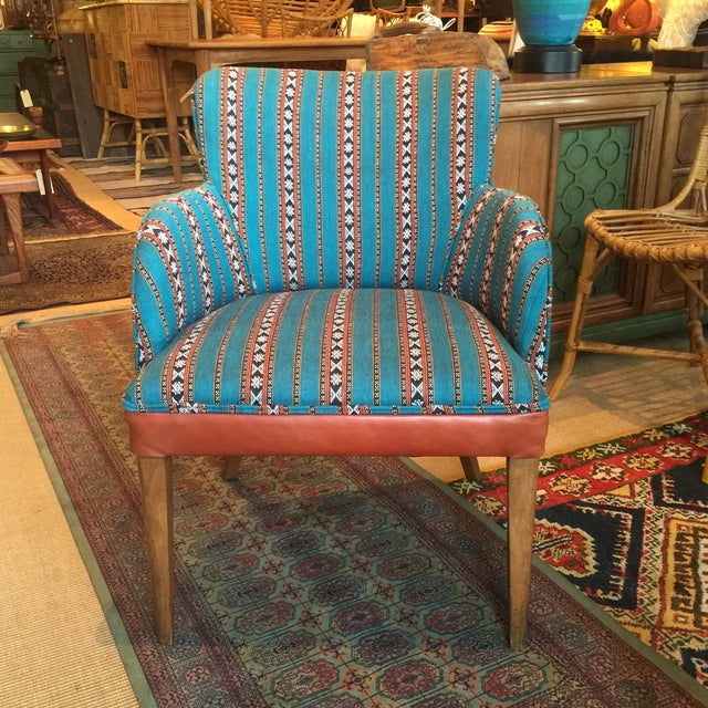 Newly Upholstered Vintage Chair in Leather - Image 2 of 5