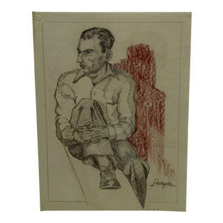 "1952 Mid-Century Modern Original Drawing on Paper, ""Sitting Casual"" by Tom Sturges Jr"