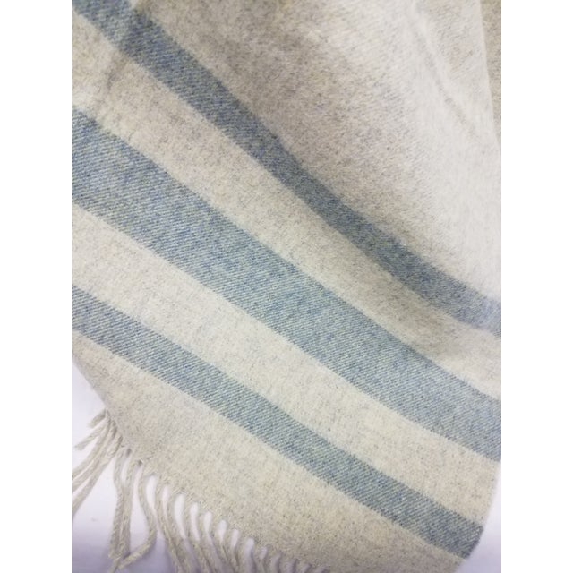 2020s Merino Wool Throw Light Green With Darker Green Stripes - Made in England For Sale - Image 5 of 8