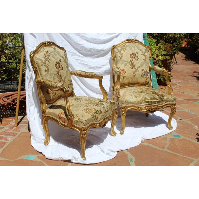 Pr. Of Signed Maison Jansen Arm Chairs Late 19c. Louis XV Style For Sale - Image 10 of 12