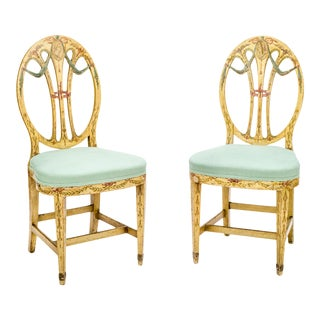 Early 20th Century Neoclassical Painted Side Chairs - a Pair For Sale