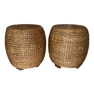 Vintage Seagrass Drum Benches Stools Ming Feet -A Pair For Sale