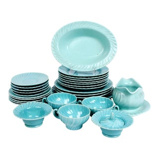 1930s French Franciscan Aqua Coronado Dinnerware Collection - 29 Pieces For Sale