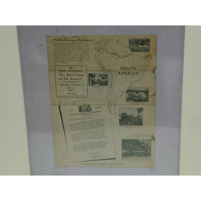 """This is a Vintage Map Showing Itinerary Of Expedition And Broadcast Station -- """"Black Flame Radio"""" -- It Is A Radio..."""