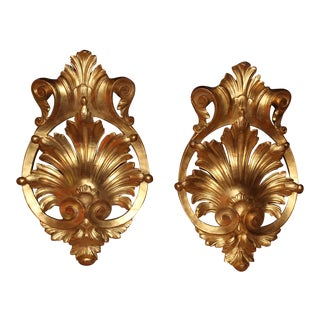 Early 20th Century French Gilt Wood Wall Ornaments Covered in Gold Leaf For Sale
