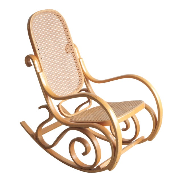 Late 20th Century Vintage Rattan Rocking Chair For Sale
