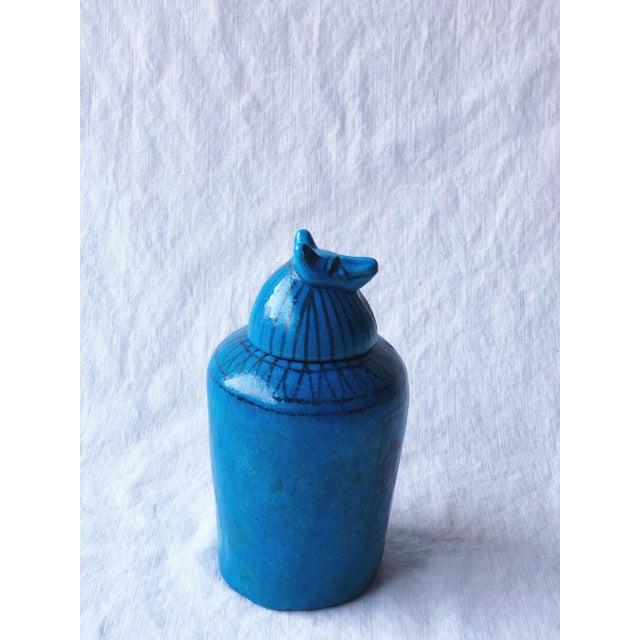 Egyptian Revival Metropolitan Museum of Art Canopic Jar Anubis Blue Jackal Head of Duamutef For Sale - Image 3 of 7