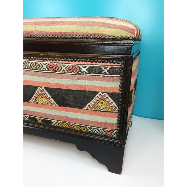 Looking for a little extra storage? Perhaps a pop of color in a room? Than this beautiful antique kilim trunk is just what...