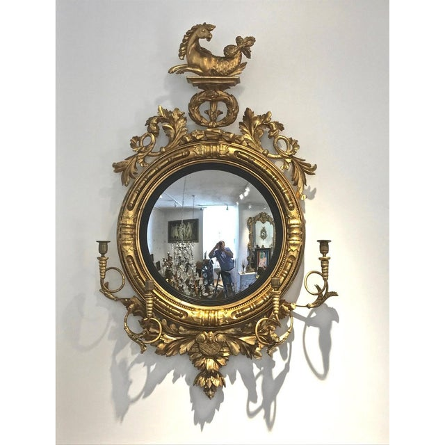 English Traditional Pair of 19th Century Regency Convex Mirror Girandoles With Hippocampus For Sale - Image 3 of 6