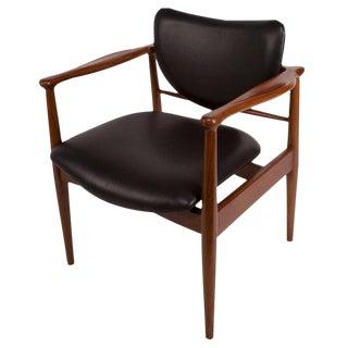 1950s Finn Juhl, Danish Mid-Century Modern Teak and Leather Armchair For Sale