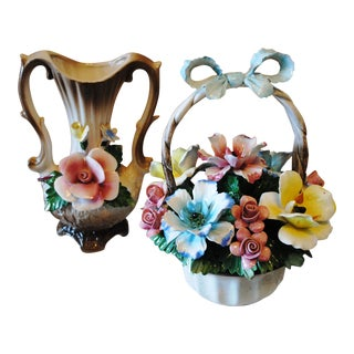 Vintage Capadimonte Basket of Flowers & Matching Vase For Sale