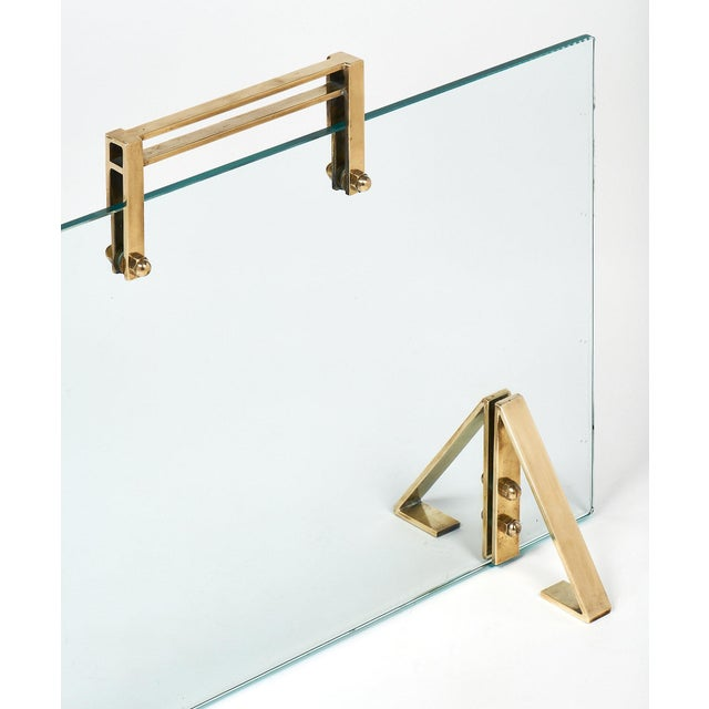 Mid-Century Modern Mid-Century Glass & Brass Fire Screen attributed to Jacques Adnet For Sale - Image 3 of 10